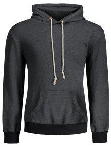 الكنغر جيب تصحيح البلوز هوديي - الرمادي العميق L