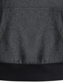Del Remiendo Oscuro Pullover Sudadera Canguro Con Del Capucha Bolsillo Del M Gris 5HwqI4w