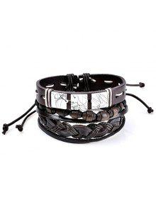 Faux Leather Layered Woven Friendship Bracelets Set - Coffee