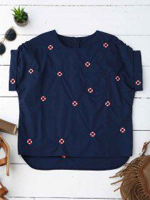 Loose Life Buoy Embroidered Top - Purplish Blue S