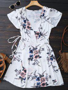 Floral Beach Wrap Mini Dress - White S