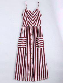 Vestido Con Tirante Fino A Rayas Con Botones - Rojo Oscuro S