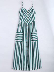 فستان زر مخطط كامي - مسود الخضراء M