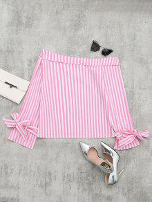 Off The Shoulder Long Sleeve Striped Blouse - Pink S