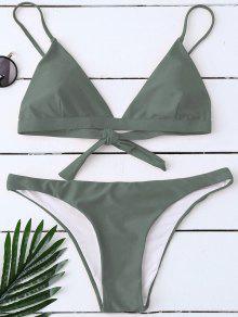 Padded Back Tied Bikini Swimwear - Army Green S