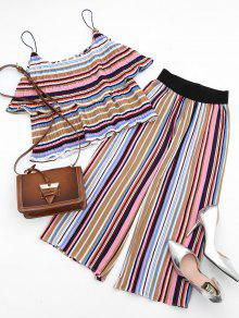Tiered Flounce Striped Top And Pants Set - S