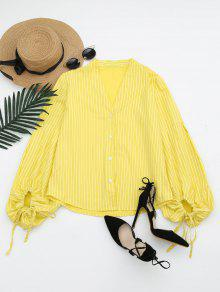 Drawstring Sleeve Button Up Striped Blouse - Yellow L