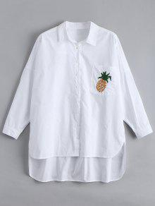 Pocket High Low Pineapple Embroidered Shirt - White S