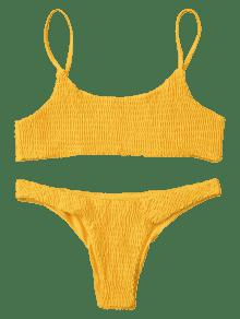 34% OFF   HOT  2019 Smocked Bikini Top And Bottoms In YELLOW M  c94857d7f