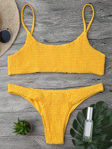 Top De Bikini Y Pantalones De Mezclilla - Amarillo S