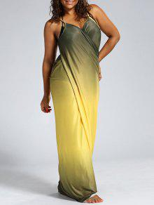 57% OFF] 2019 Ombre Plus Size Wrap Cover Up Maxi Dress In YELLOW | ZAFUL