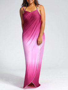 ombre plus size wrap cover up maxi dress pink: plus size swimwear