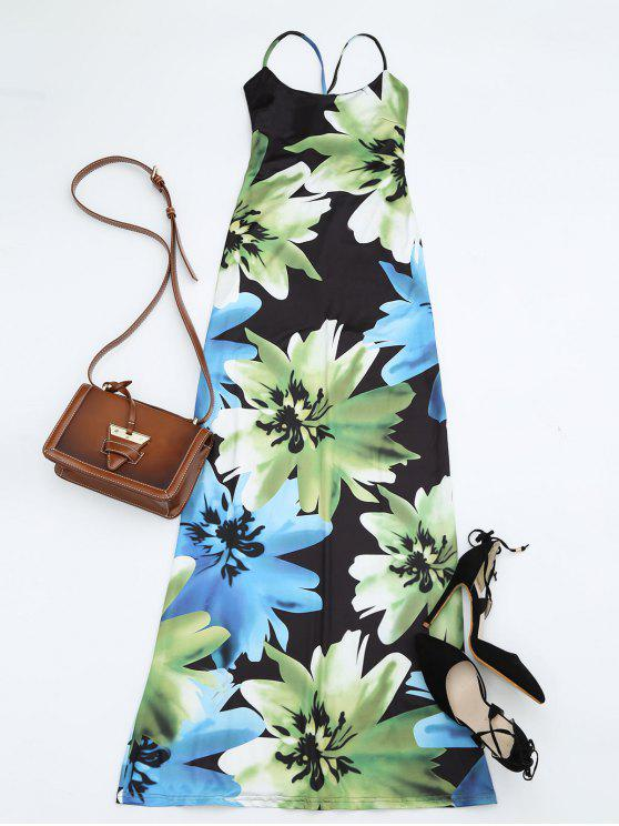 fashion Floral Print Open Back Slit Cami Dress - FLORAL XL