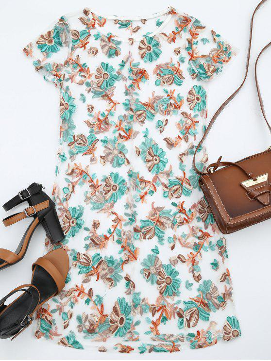 fancy Floral Patched Sheer Mesh Dress - FLORAL L
