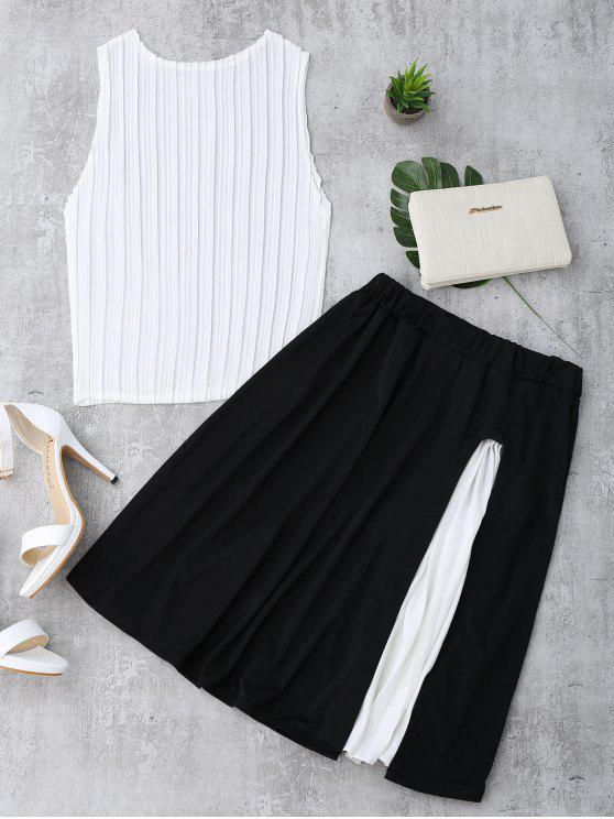 women's Pleated Top and Slit Contrast Skirt Set - WHITE AND BLACK ONE SIZE