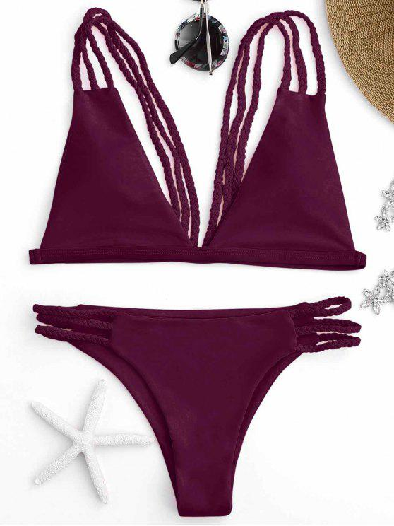 best Low Cut Strappy Bralette Bikini - BURGUNDY S