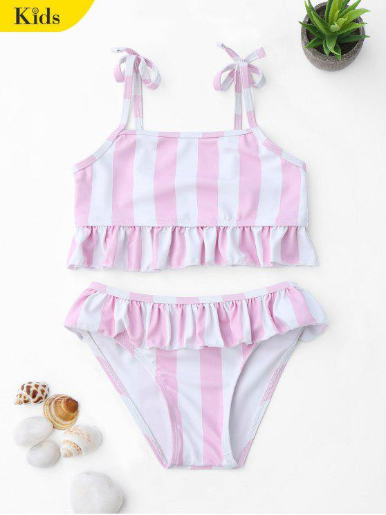 affordable Frilled Striped Toddler Girls Bikini Set - PINK AND WHITE 4T