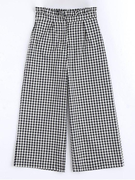 lady Plaid Ruffles Wide Leg Pants - CHECKED L