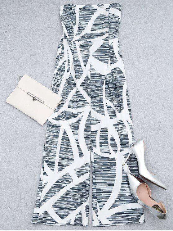 ladies Printed Strapless Wide Leg Jumpsuit - WHITE S