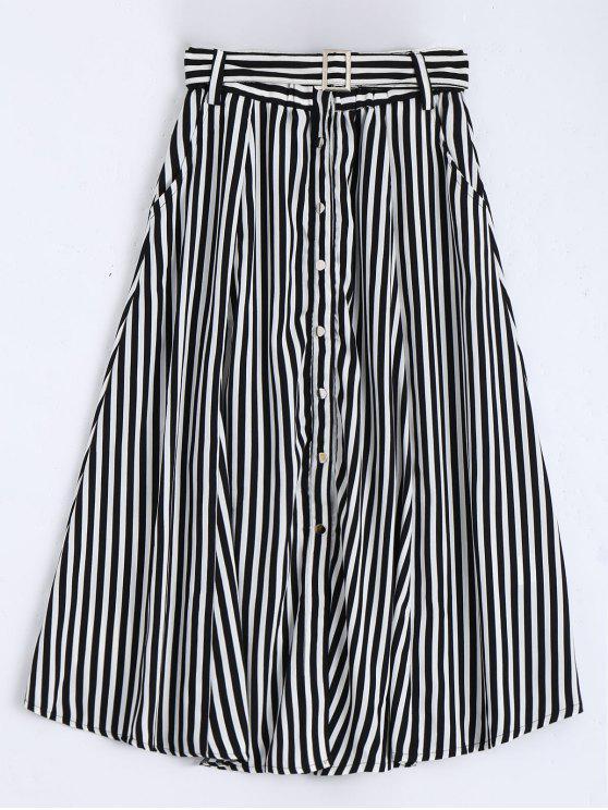 Falda de longitud de té de rayas con cinturón de un solo pecho - Blanco y Negro S