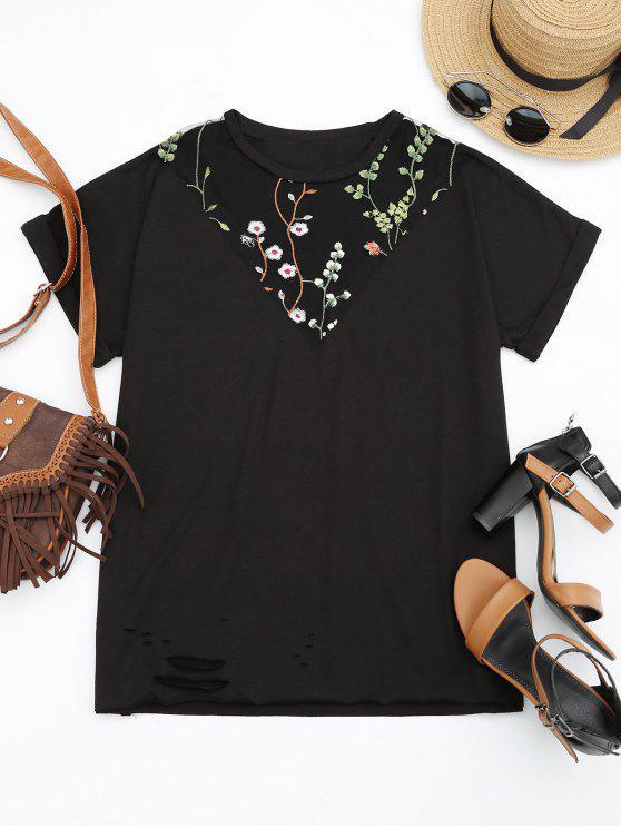 fancy Floral Embroidered Mesh Panel T-shirt - BLACK L