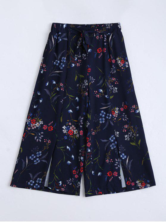 unique Slit Floral Self Tied Gaucho Pants - PURPLISH BLUE L
