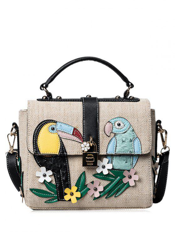 Parrot Patches Turnlock Crossbody Bolsa De Mano - Negro