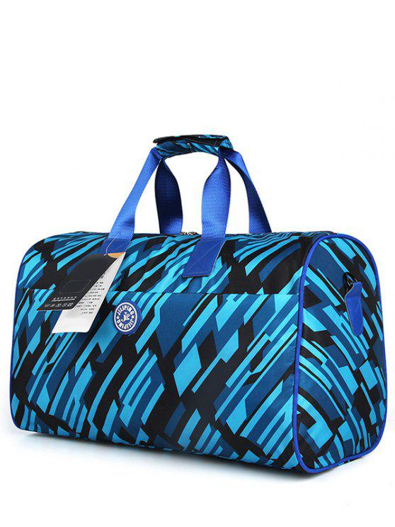 sale Nylon Printed Gym Bag - BLACK BLUE