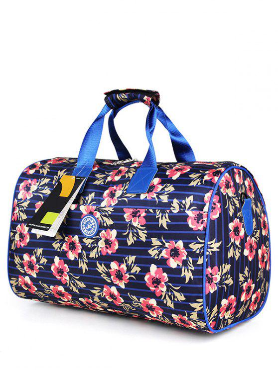 affordable Nylon Printed Gym Bag - BLUE AND PINK