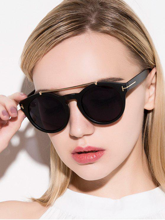 Aleación adornada mate negro gafas de sol - Negro