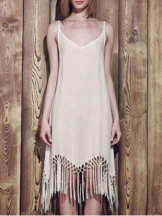 Fringed Cami Slip Dress - Branco S