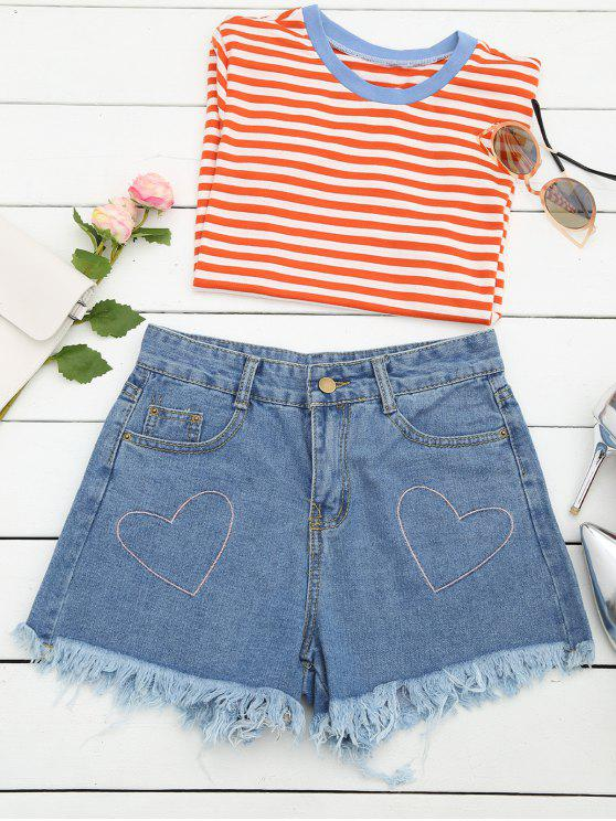 Cufles Corazón bordado Denim Shorts - Denim Blue L