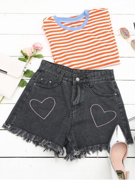 Cufles Corazón bordado Denim Shorts - Negro L