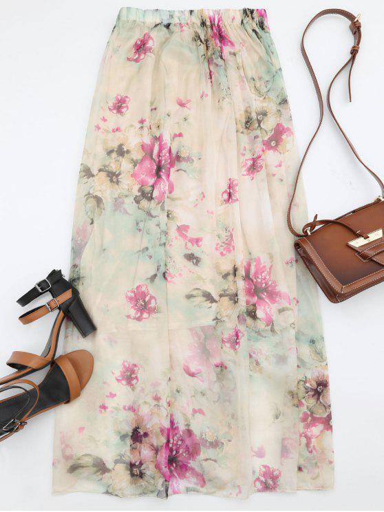 lady Floral Print High Waist Maxi Skirt - FLORAL M