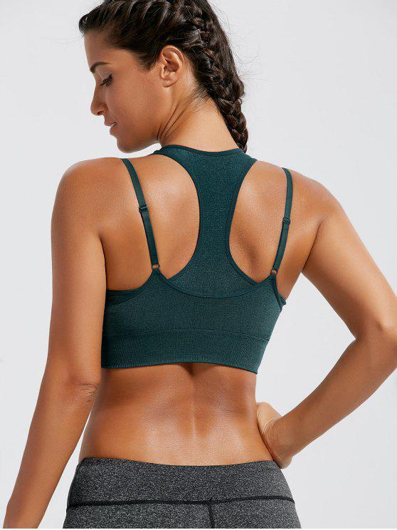 best Padded Strappy Double-Layered Sports Bra - BLACKISH GREEN L