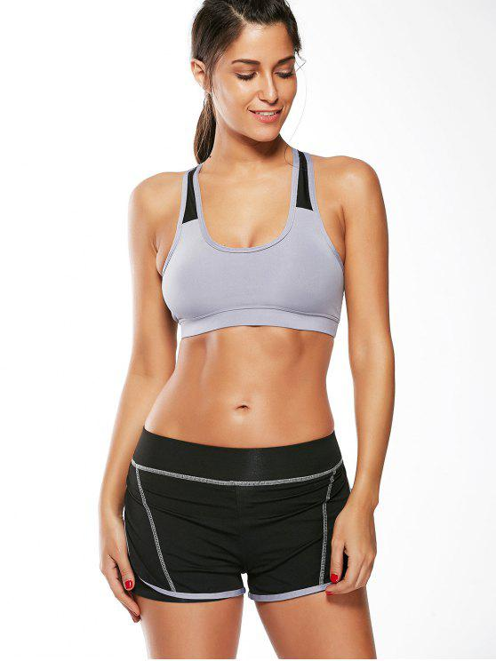 lady Strappy Padded Sports Bra and Layer Running Shorts - GRAY M
