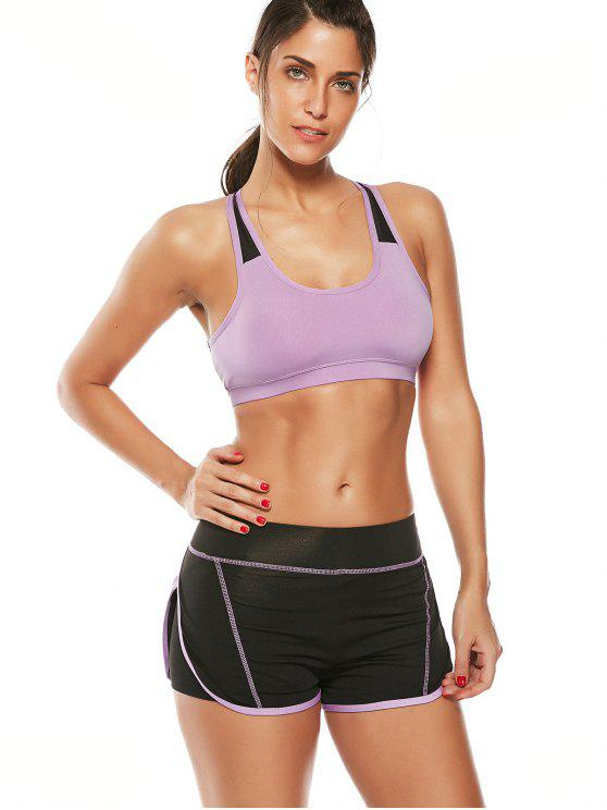 new Strappy Padded Sports Bra and Layer Running Shorts - PURPLE M