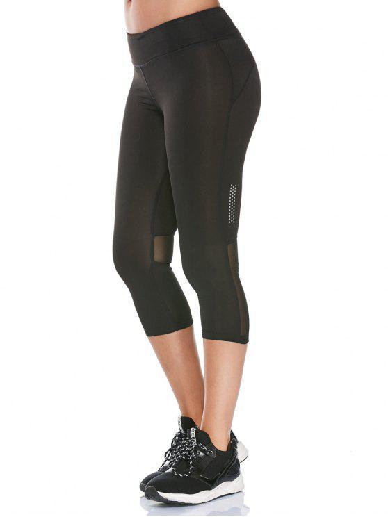 Leggings Fitness Avec Panneau à Maille Transparent - Noir M