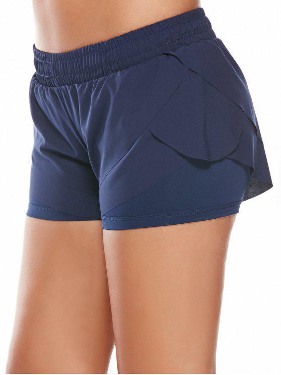 buy Elastic Waist Layered Sports Running Shorts - DEEP BLUE L
