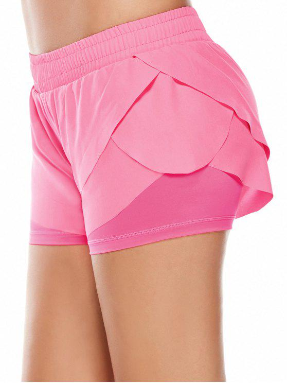 women Elastic Waist Layered Sports Running Shorts - PINK M