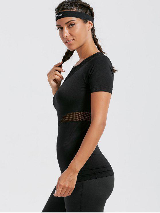 شبكة مخرمة تنفس اللياقة البدنية تي شيرت - أسود S