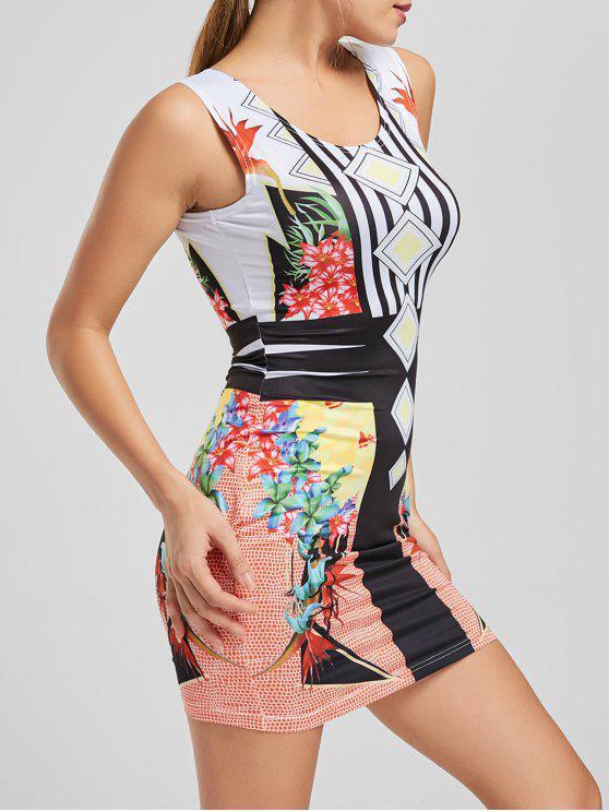 outfits Floral Print Stripes Bodycon Club Dress - YELLOW M