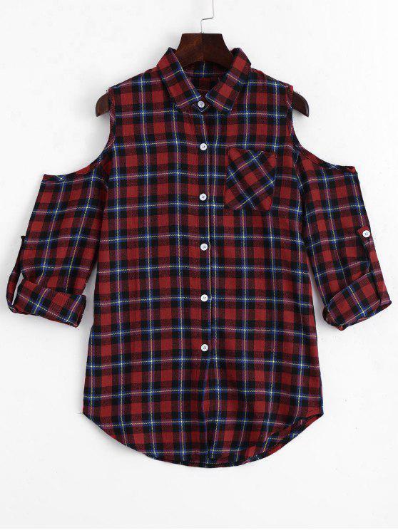 Botón de hombro frío Blusa de cheques - Comprobado XL