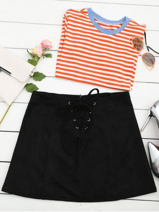 womens Lace Up Faux Suede Mini Skirt - BLACK L