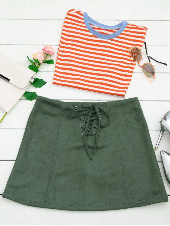 women's Lace Up Faux Suede Mini Skirt - ARMY GREEN M