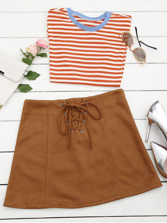 best Lace Up Faux Suede Mini Skirt - COFFEE M