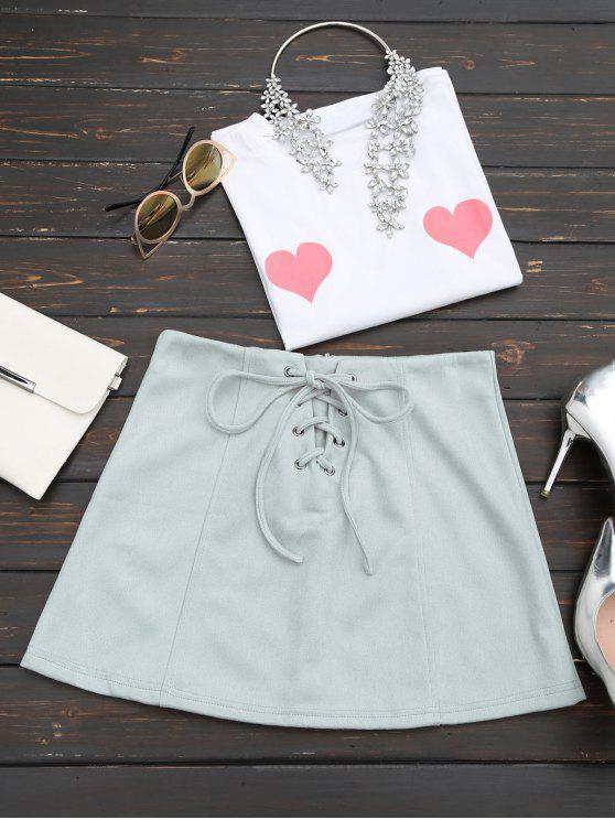 Falda de encaje con falda de ante de imitación - Gris S