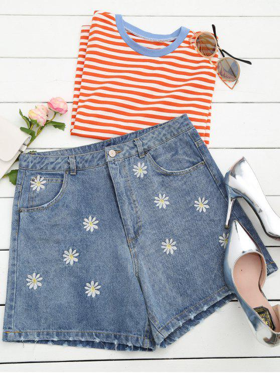 outfits Ripped Daisy Embroidered Denim Shorts - DENIM BLUE S
