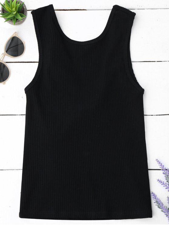 fancy Knitted Ribbed Cut Out Tank Top - BLACK S