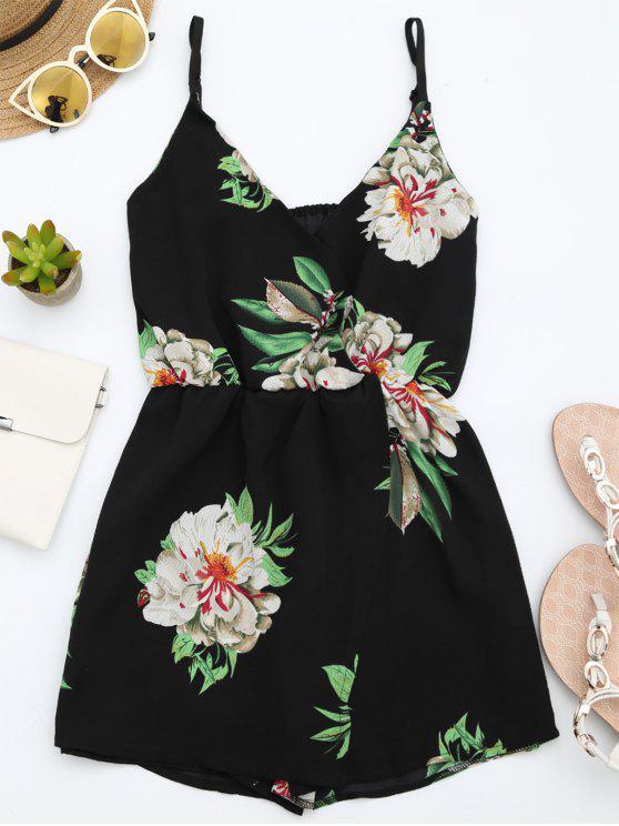Combishorts à bretelle multicouche imprimé de motif floral - Noir XL